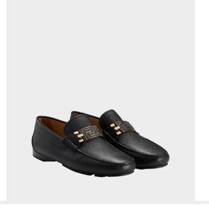 Greek Key Leather Driving Shoes in Black + Gold